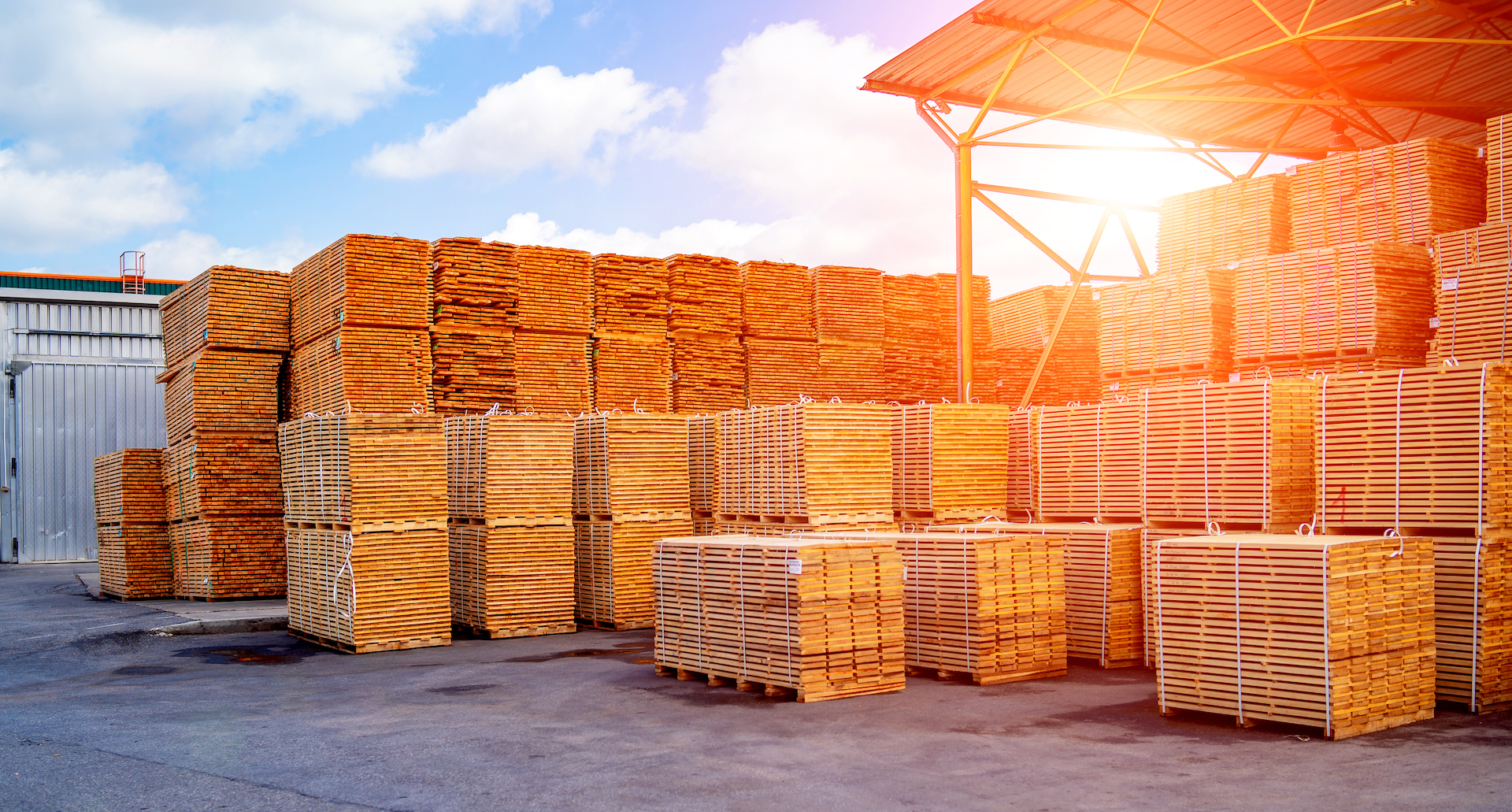 Warehouse interior, pallets with goods. Open-air. Transportation and logistic.